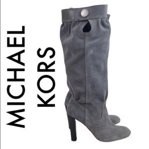 MICHAEL KORS GRAY SUEDE  HEELED BOOTS 5.5 M